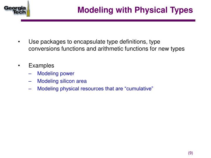 Modeling with Physical Types
