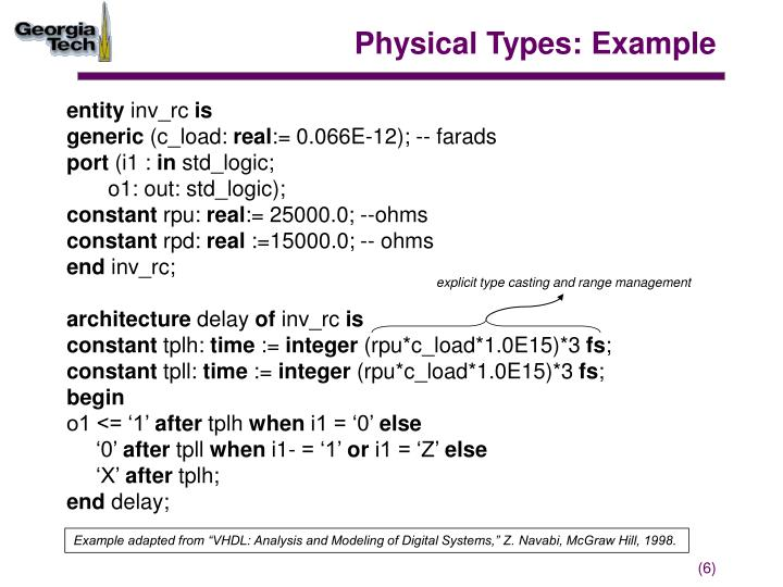 Physical Types: Example