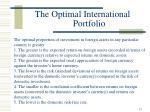 the optimal international portfolio13