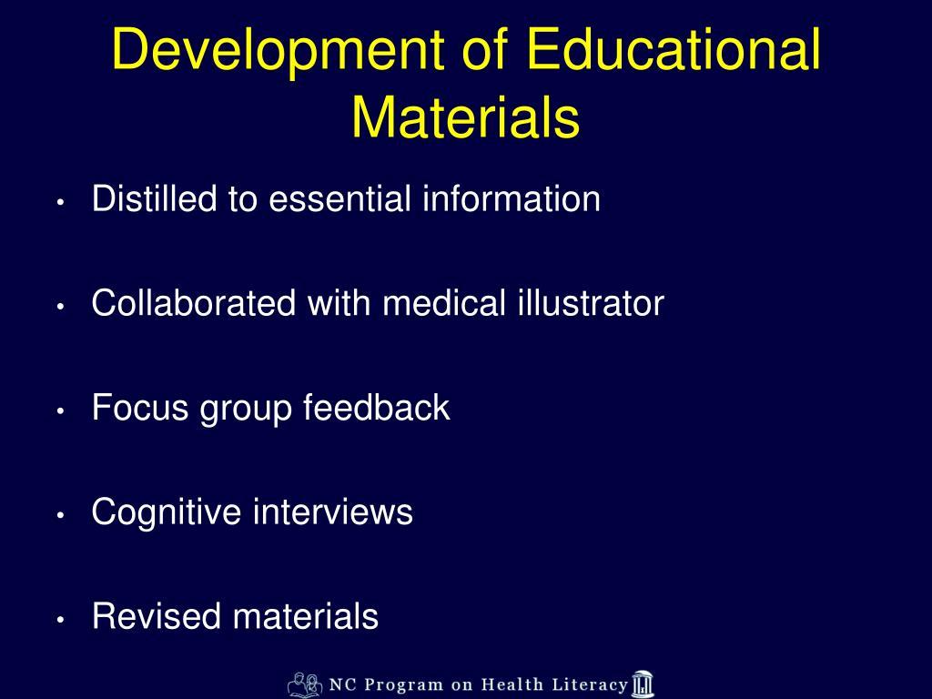 Development of Educational Materials