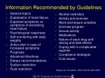 information recommended by guidelines