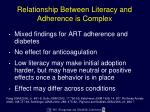 relationship between literacy and adherence is complex