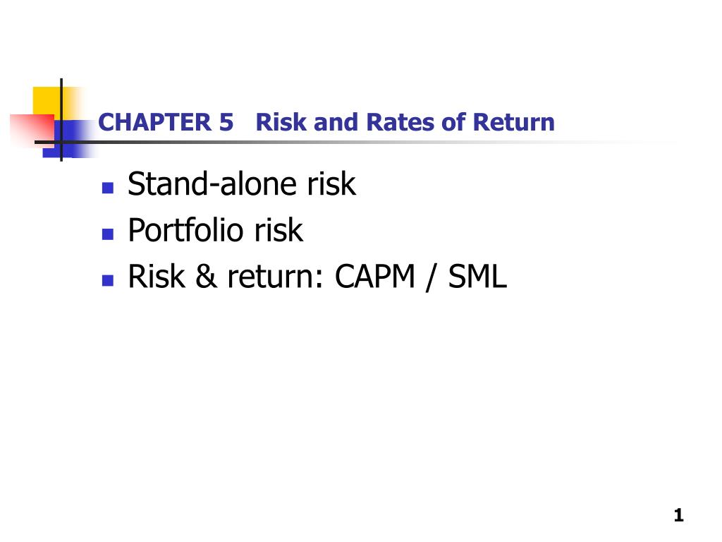 chapter 5 risk and rates of return l.