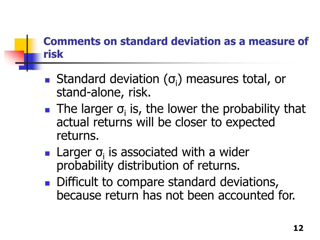 Comments on standard deviation as a measure of risk