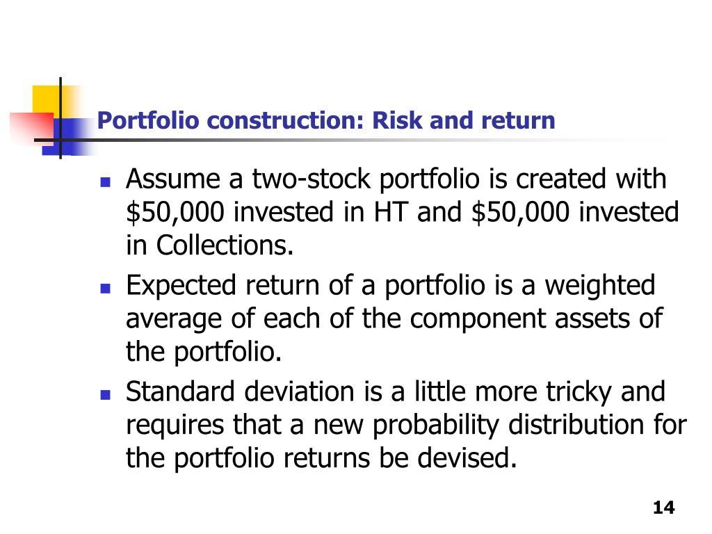 Portfolio construction: Risk and return