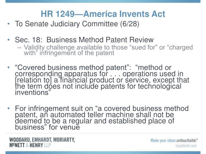 HR 1249—America Invents Act