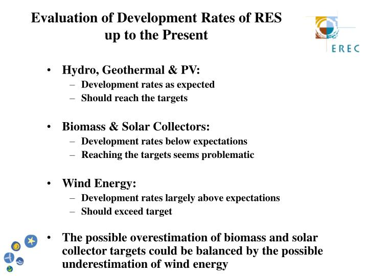Evaluation of Development Rates of RES                        up to the Present