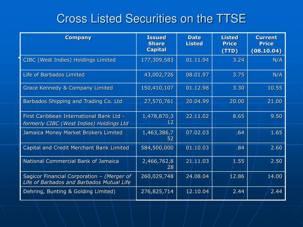 Cross Listed Securities on the TTSE