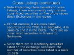 cross listings continued