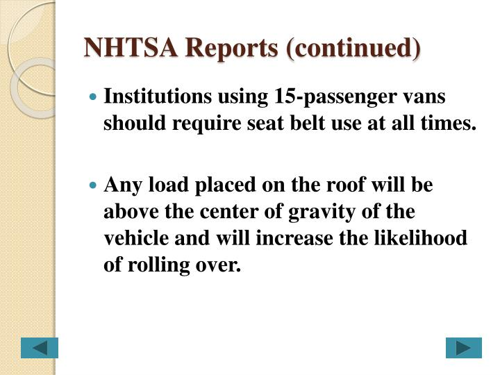 NHTSA Reports (continued)