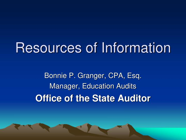 resources of information n.