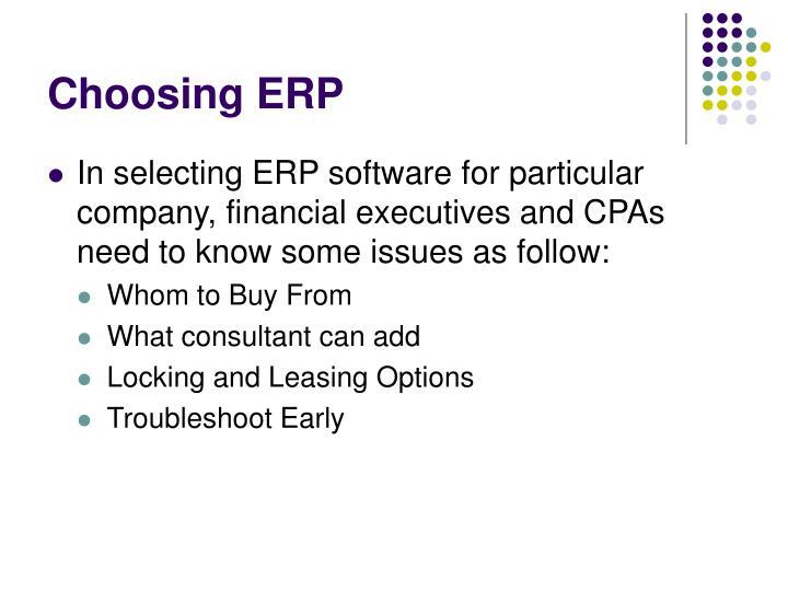 Choosing ERP
