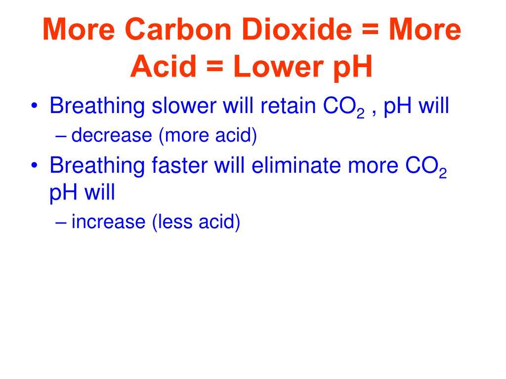 More Carbon Dioxide = More Acid = Lower pH