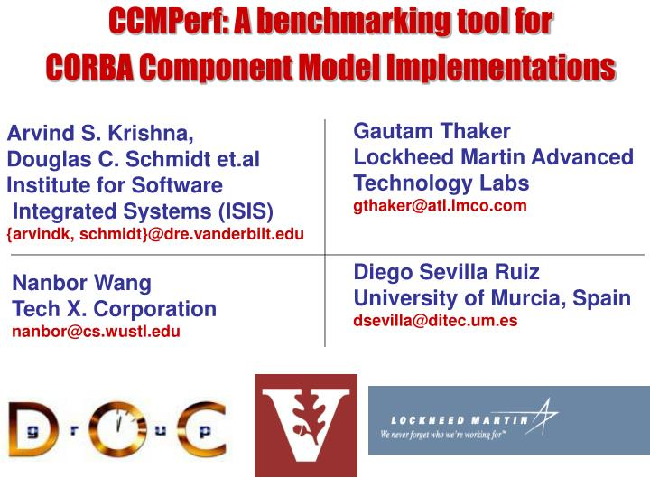 ccmperf a benchmarking tool for corba component model implementations n.