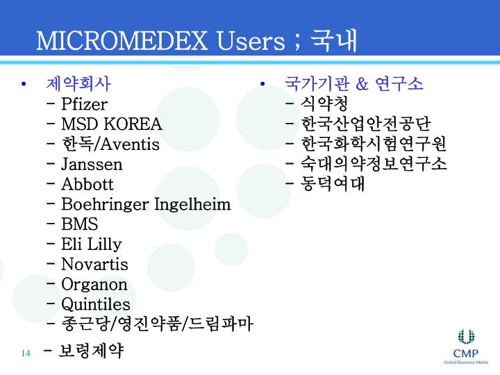 MICROMEDEX Users ;