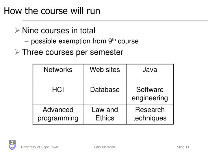 How the course will run