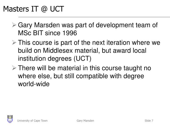 Masters IT @ UCT