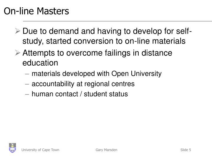 On-line Masters