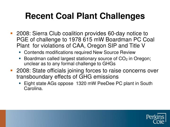Recent Coal Plant Challenges