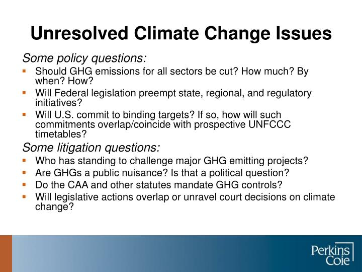 Unresolved Climate Change Issues
