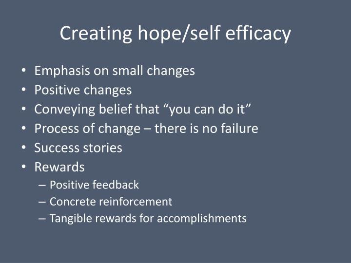 Creating hope/self efficacy