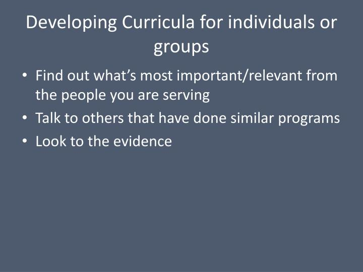 Developing Curricula for individuals or groups