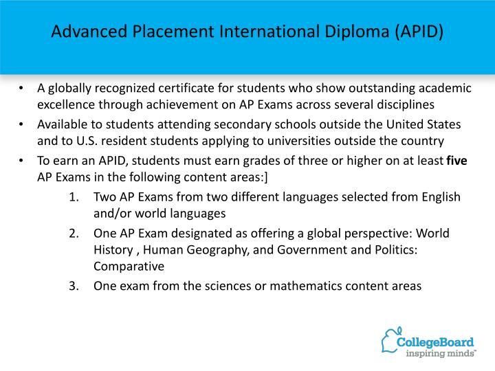 Advanced Placement International Diploma (APID)