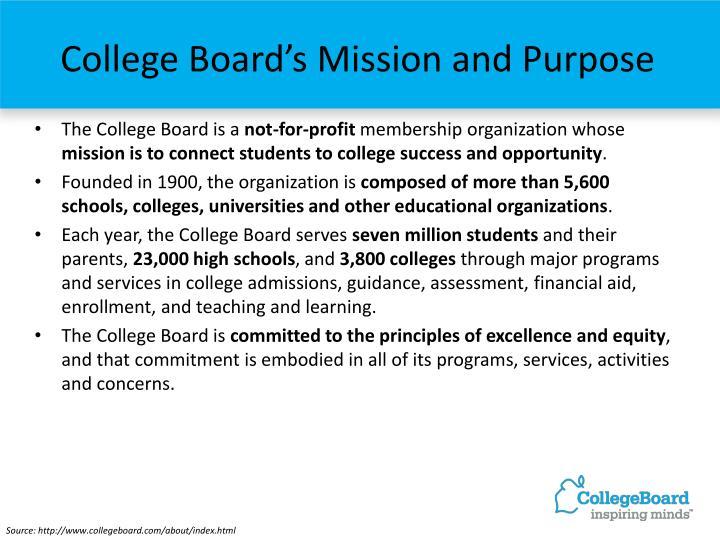 College board s mission and purpose