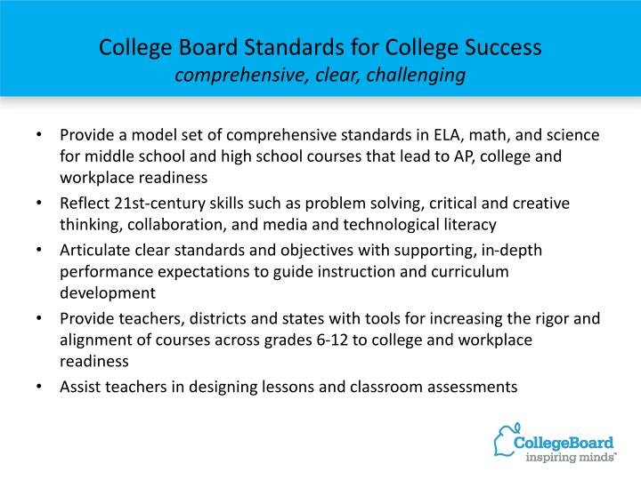 College Board Standards for College Success