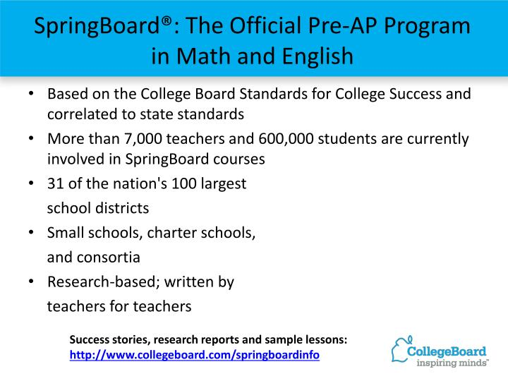 SpringBoard®: The Official Pre-AP Program in Math and English