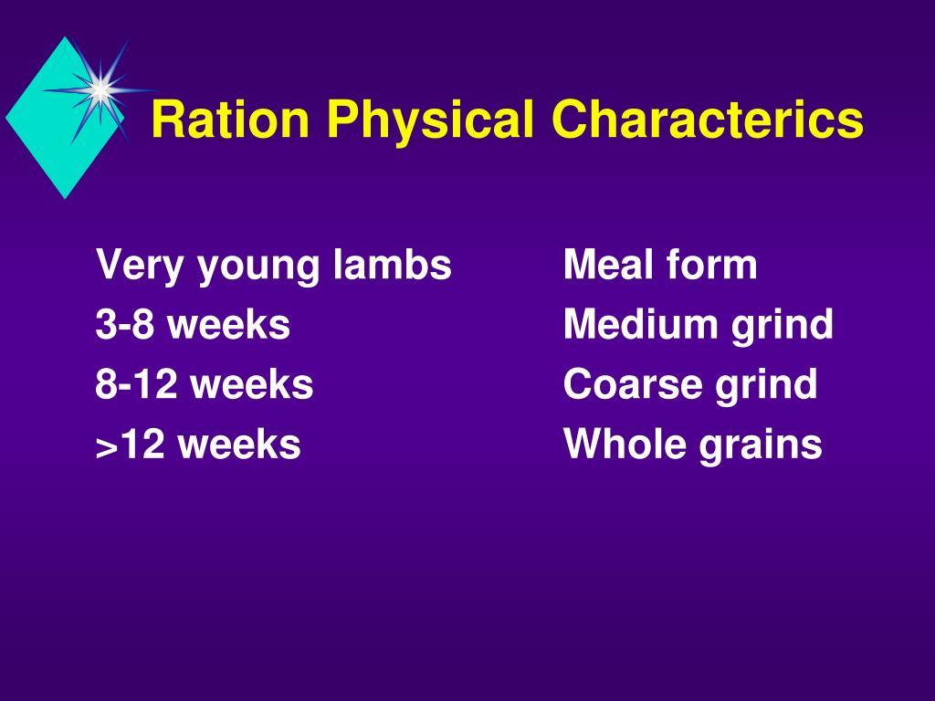 Ration Physical Characterics