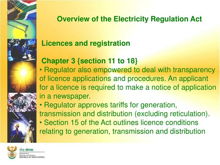 Overview of the Electricity Regulation Act
