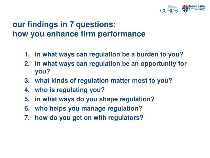 our findings in 7 questions: