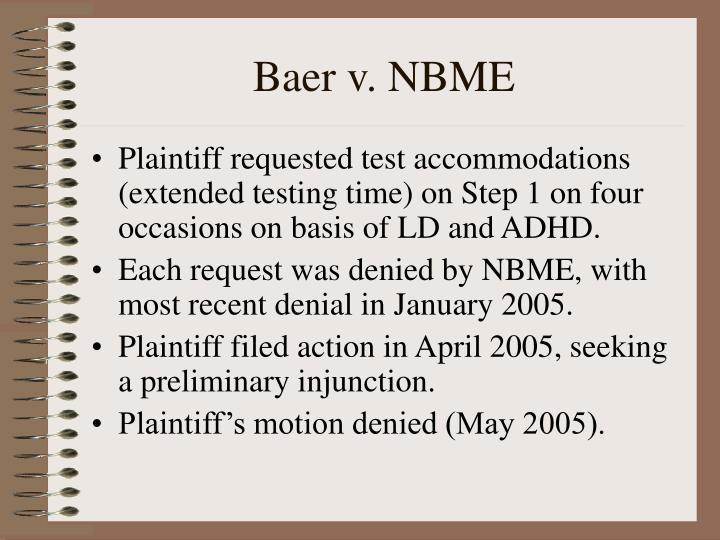Baer v. NBME