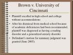 brown v university of cincinnati
