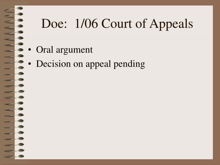 Doe:  1/06 Court of Appeals
