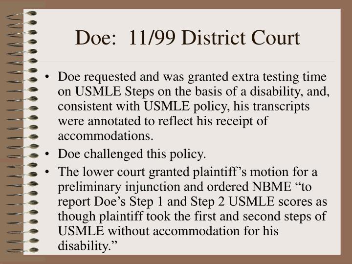 Doe:  11/99 District Court