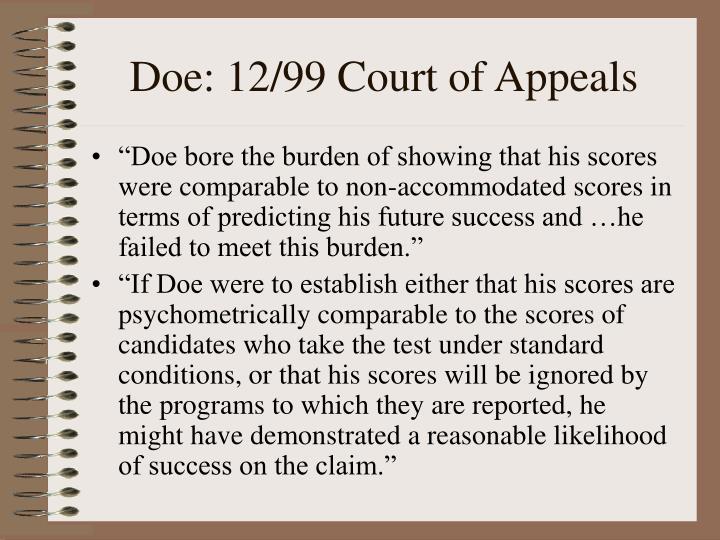 Doe: 12/99 Court of Appeals