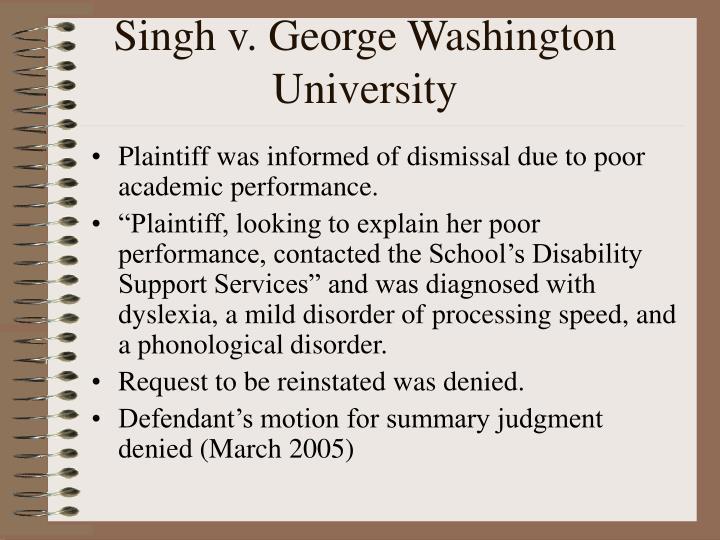 Singh v. George Washington University
