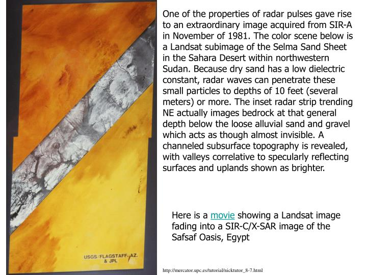 One of the properties of radar pulses gave rise to an extraordinary image acquired from SIR-A in November of 1981. The color scene below is a Landsat subimage of the Selma Sand Sheet in the Sahara Desert within northwestern Sudan. Because dry sand has a low dielectric constant, radar waves can penetrate these small particles to depths of 10 feet (several meters) or more. The inset radar strip trending NE actually images bedrock at that general depth below the loose alluvial sand and gravel which acts as though almost invisible. A channeled subsurface topography is revealed, with valleys correlative to specularly reflecting surfaces and uplands shown as brighter.