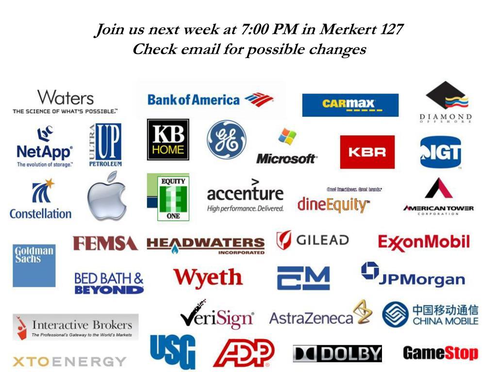 Join us next week at 7:00 PM in Merkert 127