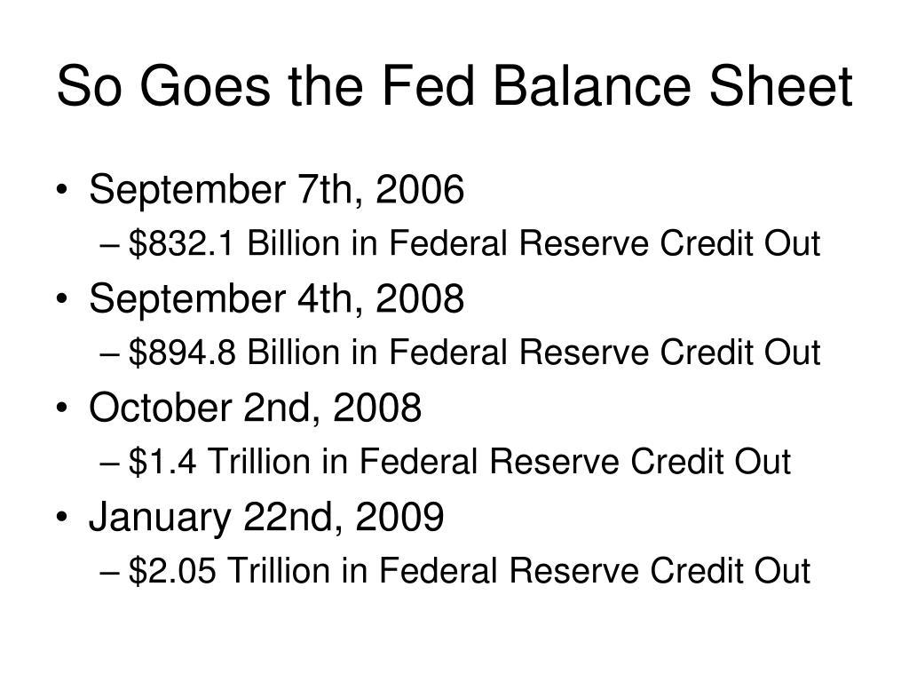So Goes the Fed Balance Sheet
