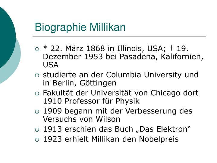 PPT - Millikan-Versuch PowerPoint Presentation - ID:1478317