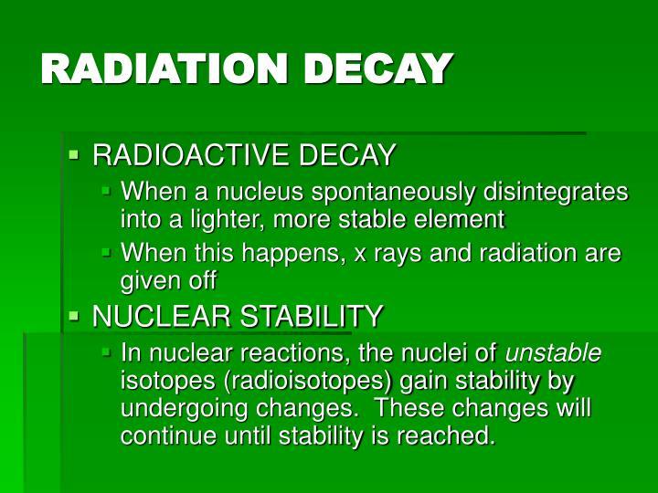 RADIATION DECAY