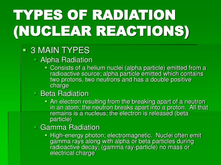 TYPES OF RADIATION (NUCLEAR REACTIONS)
