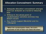 allocation concealment summary