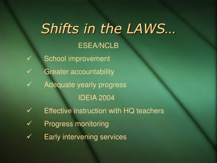 Shifts in the laws