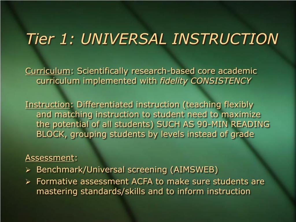 Tier 1: UNIVERSAL INSTRUCTION