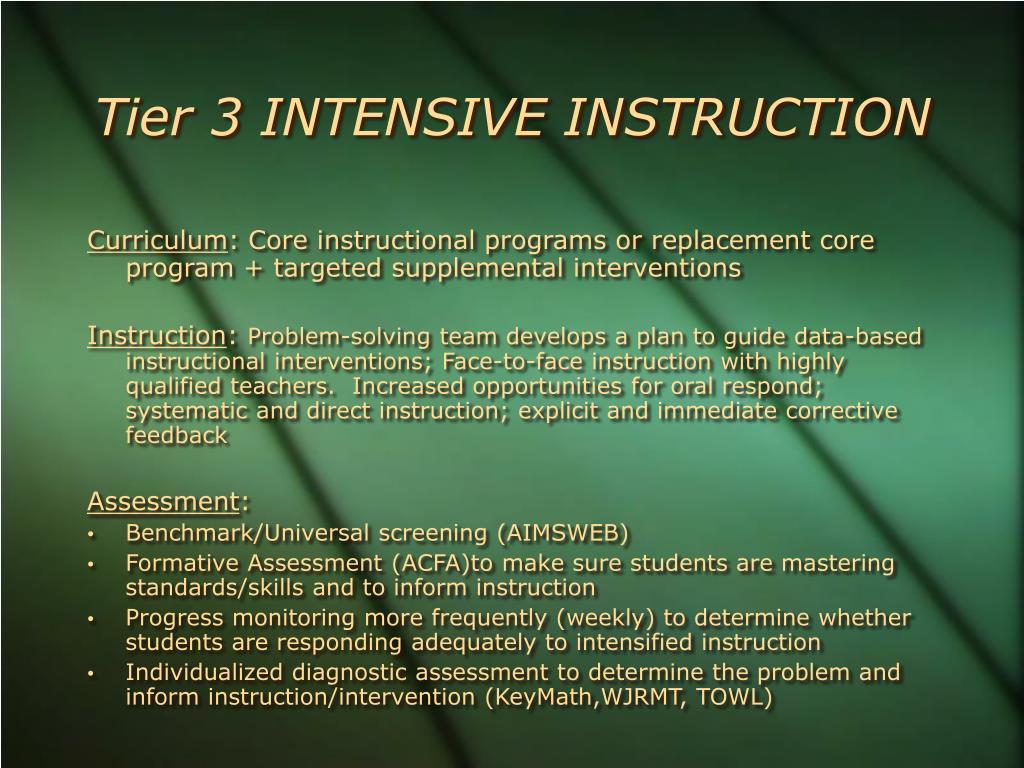 Tier 3 INTENSIVE INSTRUCTION