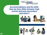 accommodations and the ada how do they differ between high school and post secondary education